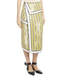 Monse Sequin Striped Trompe L'oeil Skirt Yellow Blue Yellow Blue