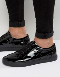 Asos Lace Up Trainers In Black Patent Black