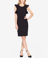 Tahari By Arthur S. Levine Asl Ruffled Sheath Dress Black