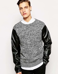 Standard Issue Exclusive Twisted Yarn Knitted Jumper With Faux Leather Sleeves Black