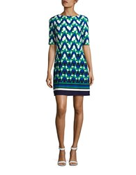 Eliza J Geometric Shift Dress Green Multi