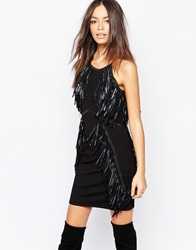 Goldie We Stay Out Bodycon Dress With Pu Fringing Black