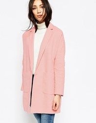 Yumi Oversized Coat With Pockets Coral Pink