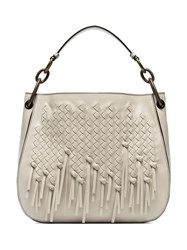 Bottega Veneta Cream Charleston Loop Fringed Leather Hobo Tote Nude And Neutrals