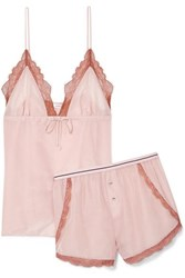 Love Stories Lotty And Matt Lace Trimmed Cotton And Silk Blend Pajama Set Antique Rose