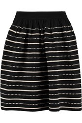 Sandro Jimmy Striped Stretch Knit Mini Skirt Black