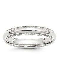 Bloomingdale's 4Mm Milgrain Comfort Fit Band In 14K White Gold 100 Exclusive