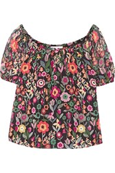 Red Valentino Redvalentino Off The Shoulder Printed Crinkled Silk Chiffon Top Black
