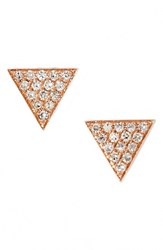 Women's Dana Rebecca Designs 'Emily Sarah' Diamond Pave Triangle Stud Earrings Rose Gold Nordstrom Exclusive