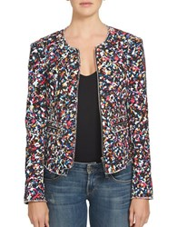 1.State Printed Tweed Jacket Rich Black