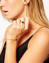 Asos Stone And Chain Hand Harness Gold