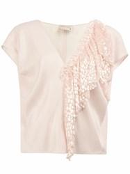 Maison Rabih Kayrouz Ruffle Detail V Neck Blouse Pink And Purple