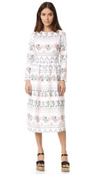 Endless Rose Long Sleeve Print Dress White Combo
