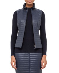 Akris Echo Quilted Napa Leather Vest Blue Jay Bluejay