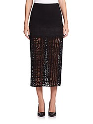 Jason Wu Wool Flannel And Lace A Line Skirt Black