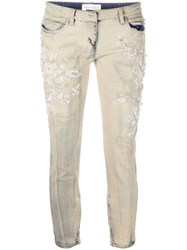 Faith Connexion Beaded Embroidery Cropped Jeans Nude Neutrals