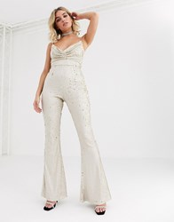 Rare London Cowl Front Sequin Jumpsuit With Chain Strap Detail In Light Gold