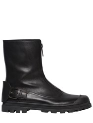 Diesel Black Gold Front Zip Leather Boots