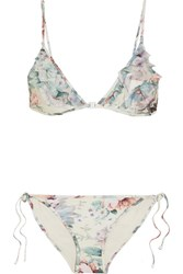 Zimmermann Jasper Ruffled Tulle Trimmed Printed Triangle Bikini Light Denim