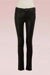 Rag And Bone Lamb Leather Skinny Lb Jean Washed Black