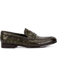 Raparo Formal Loafers Crocodile Leather Leather Rubber Green