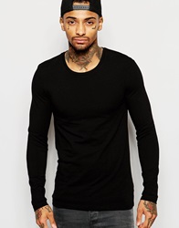 Asos Extreme Muscle Long Sleeve T Shirt With Crew Neck Black