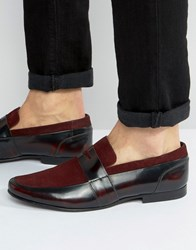 Asos Loafers In Burgundy Leather With Burgundy Suede Details Burgundy Red