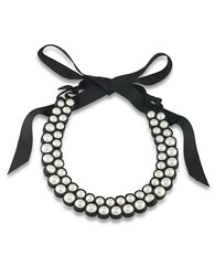 1St And Gorgeous Faux Pearl Bib Necklace White Pearl And Black
