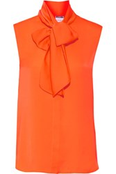 Moschino Neon Pussy Bow Crepe De Chine Top Orange