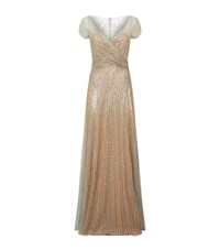 Jenny Packham Sequin Tulle Gown Female Gold