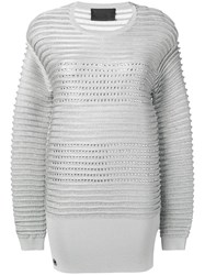 Philipp Plein Embellished Striped Jumper Silver
