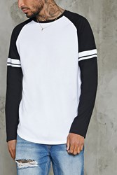 Forever 21 Long Sleeve Baseball Tee White Black