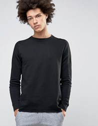 Selected Homme Crew Neck Sweatshirt With Ribbed Arm Detail Caviar Black