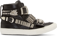 Toga Pulla Ssense Exclusive Black Leather Silver Buckle Sneakers