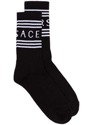Versace Logo Stripe Socks Black