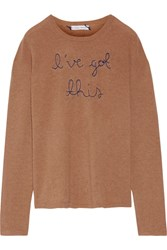 Lingua Franca I've Got This Embroidered Cashmere Sweater Camel