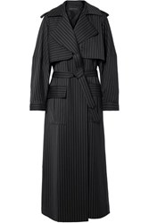 Michael Lo Sordo Pinstriped Wool Trench Coat Midnight Blue