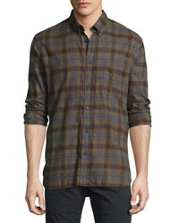 Billy Reid Tuscumbia Plaid Cotton Shirt Olive Navy