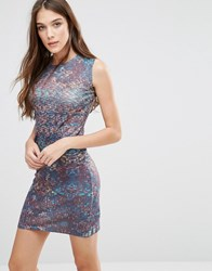Lavand Abstract Print Bodycon Dress Brown Multi