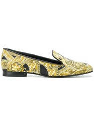 Versace Baroque Print Loafers Yellow And Orange
