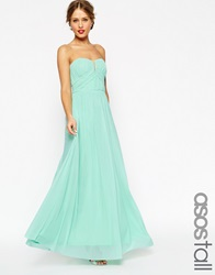 Asos Tall Wedding Ruched Bandeau Maxi Dress Mint