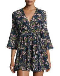 On The Road Olivia Floral Print Flare Dress Navy