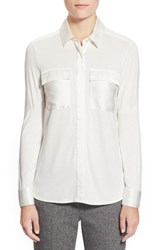 Women's Pink Tartan Silk Trim Jersey Shirt Cream