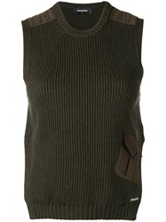 Dsquared2 Rib Knit Sleeveless Top Green