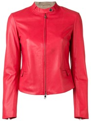 Emporio Armani Fitted Leather Jacket Red