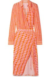 Altuzarra Constantina Wrap Effect Checked Silk Crepe De Chine Midi Dress Orange