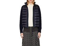 Moncler Wool Accented Down Quilted Zip Front Sweater Navy