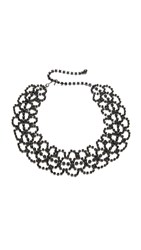 Kenneth Jay Lane Lace Choker Necklace Gunmetal Jet