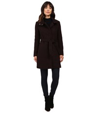 Marc New York Tristina 35 Brushed Twill Trench Coat Chianti Black Women's Coat Red