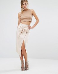 Parallel Lines Pencil Skirt With Tie Front Nude Beige